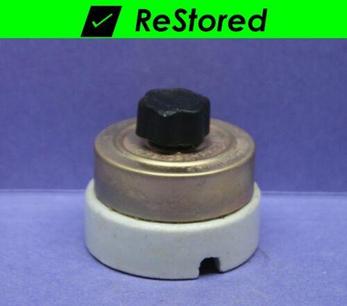 ⭐ Vintage Rotary Light Switch, Brass/Porcelain Round Single-Pole ON/OFF Standard