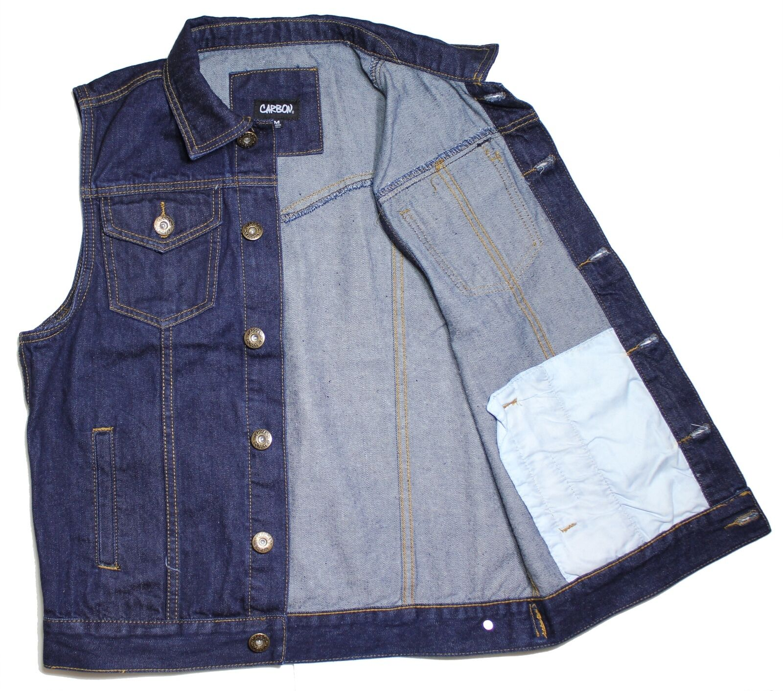 MEN'S DENIM BIKER MOTORCYCLE VEST JACKET DK.BLUE .