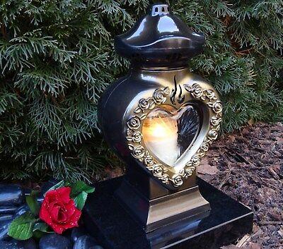 Grablaterne Herz Grablampe Grablicht Bronze Grabschmuck Grableuchte inkl. Kerze