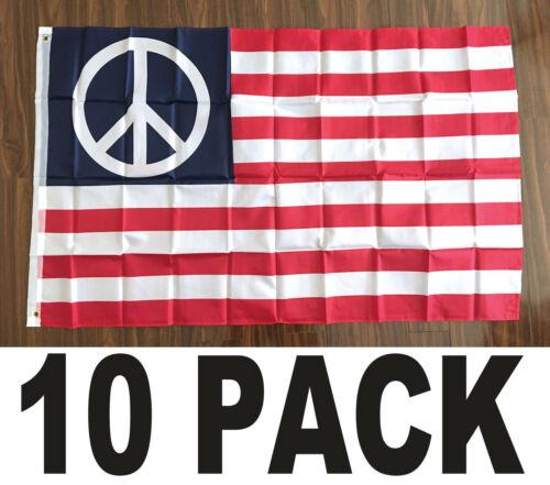 3x5 ft WORLD PEACE USA American Flag b - 10 PACK