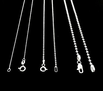 NEW SOLID 925 STERLING SILVER BEAD BALL CHAIN DOG TAG NECKLACE FOR MEN