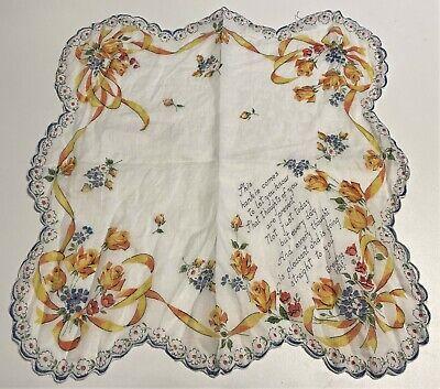 Yellow Print Greeting Vintage Handkerchief