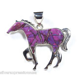 Large Purple Turquoise Inlay 925 Sterling Silver Horse Pendant Necklace