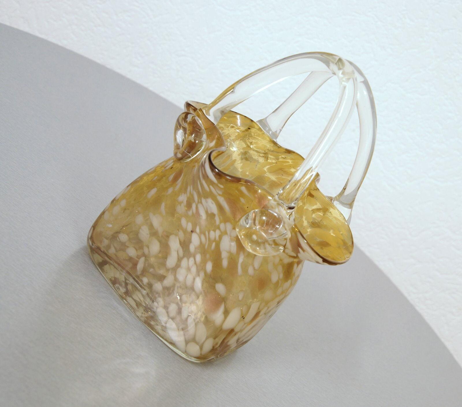 edle Murano Opaline Design Vase Tischvase Tasche Handtasche Vintage 60er Jahre