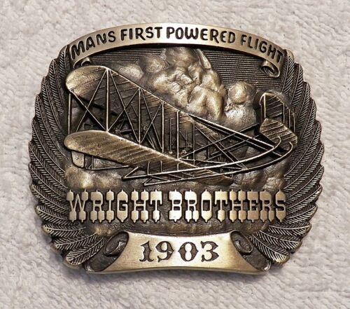 CLASSIC BELT BUCKLE WRIGHT BROTHERS 1903 MANS FIRST POWERED FLIGHT SOLID BRA BB4