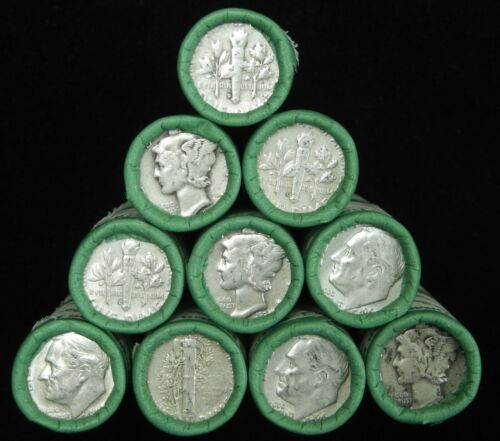 Silver Dime Roll 90% From Dunbar Hoard Box Dimes $5 Old Coin Lot Mixed Date