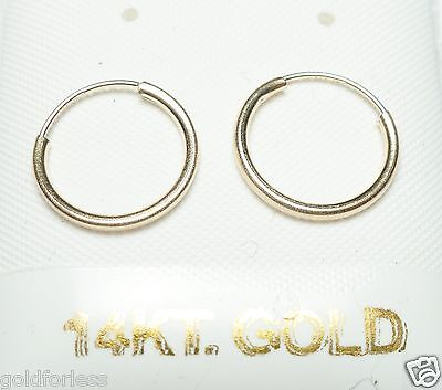 Pure 14Kt Solid Yellow Gold Thin 12MM Endless Hoop Earrings.....100% Guaranteed! 14kt Solid Yellow Gold Earring