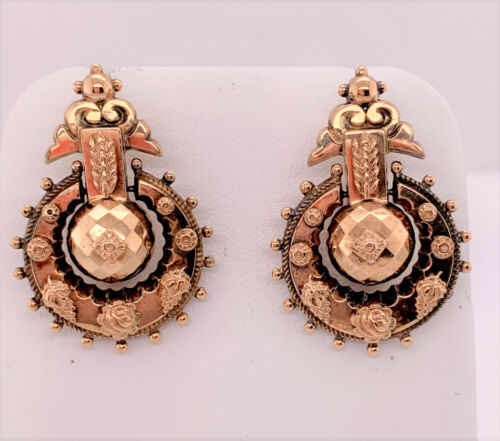 Victorian pair 9k rose gold Faceted Ball Floral Applique Drop Earrings posts