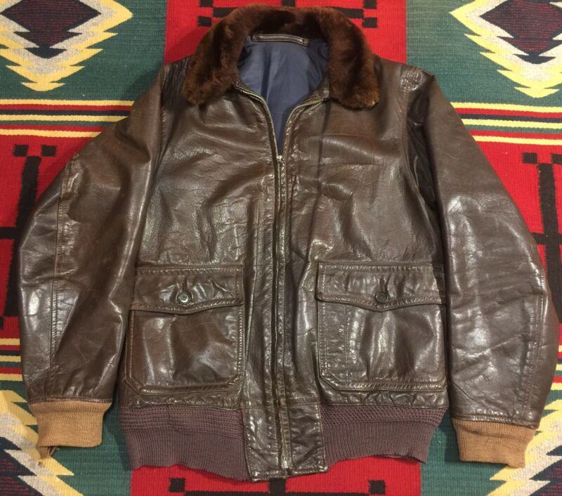 Original WW2 US Navy Leather Flight Jacket Type M-422, Size M!!!
