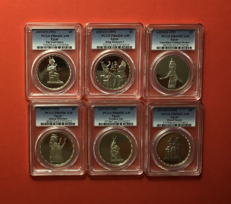 1993-1994 EGYPT-6 UNCIRCULATED SILVER PROOF COINS(5 P.),GRADED BY PCGS PF 64-66.