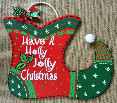 Holly Jolly Christmas ELF SHOE Boot SIGN Wall Door Hanger Plaque Wreath Accent