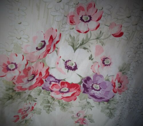 WONDERFUL FRENCH ANTIQUE FLORAL PRINTED LINED FABRIC CIRCA 1900s HEAVY WEAVE
