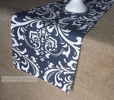 Navy Blue Table Runner Floral Damask Nautical Home Decor Dining Table - Navy Blue Decor