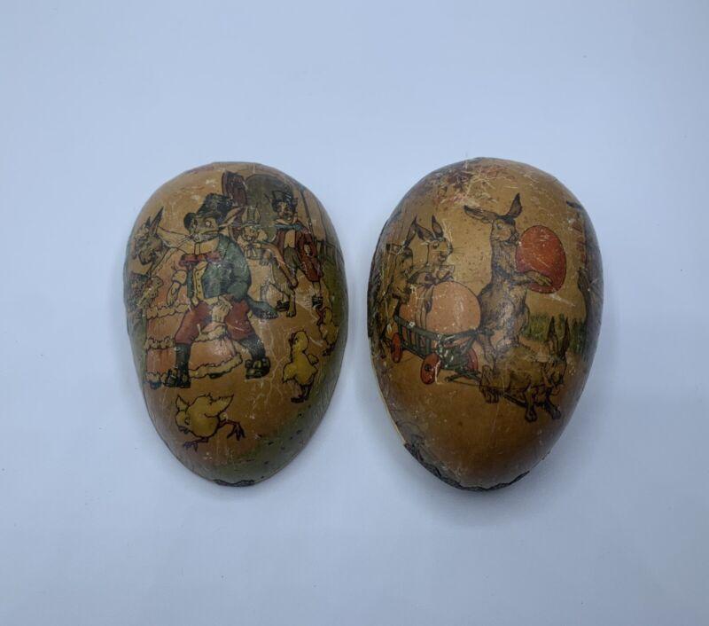 Antique Vintage German Paper Mache Easter Egg - Bunny Bride Groom Chicks Germany