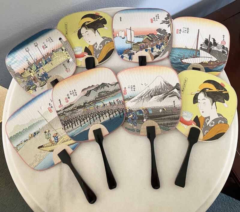 Vintage JAPANESE UCHIWA PAPER POSTCARD Paddle FANS With Wooden Handle 8pc LOT