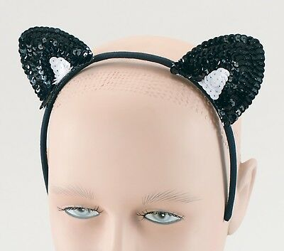 Black Cat Sequin Ears Fancy Dress Cat Costume Accessories Halloween](Black Cat Halloween Costume Accessories)