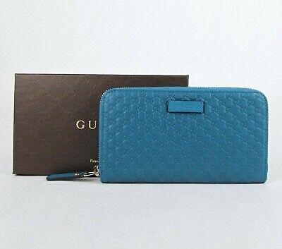 Gucci Deep Cobalt Blue Microguccissima Leather Zip Around Wallet 449391 4618