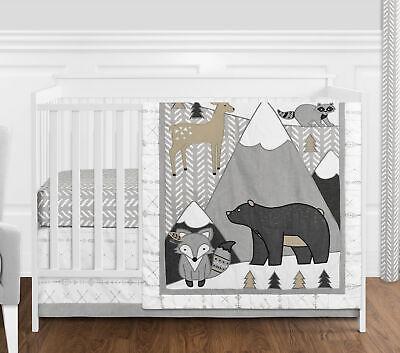 4pc Beige Grey Boho Animal Woodland Forest Friends Baby Nursery Crib Bedding Set for sale  USA