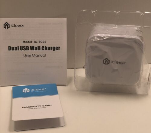 iClever BoostCube 24W Dual USB Wall Charger with SmartID Tec