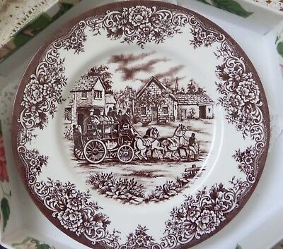 """Royal Stafford Fine Earthenware Brown Pattern Stagecoach Image 11"""" Dinner Plate"""