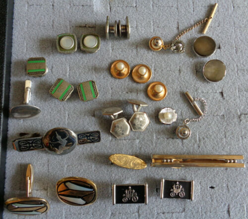 Mens Jewelry Lot Tie Clips Tacks Cuff Links Art Deco Shell Etched Pearl Signed +