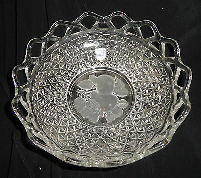 IMPERIAL GLASS CO. CROCHETED CRYSTAL LACE EDGE BOWL & IMPRINTED (Imprinted Glassware)