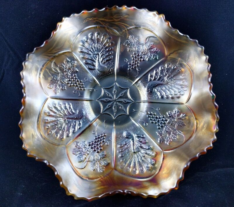 Vintage Carnival Glass Bowl - Peacocks and Grapes in Marigold Beautiful Edge