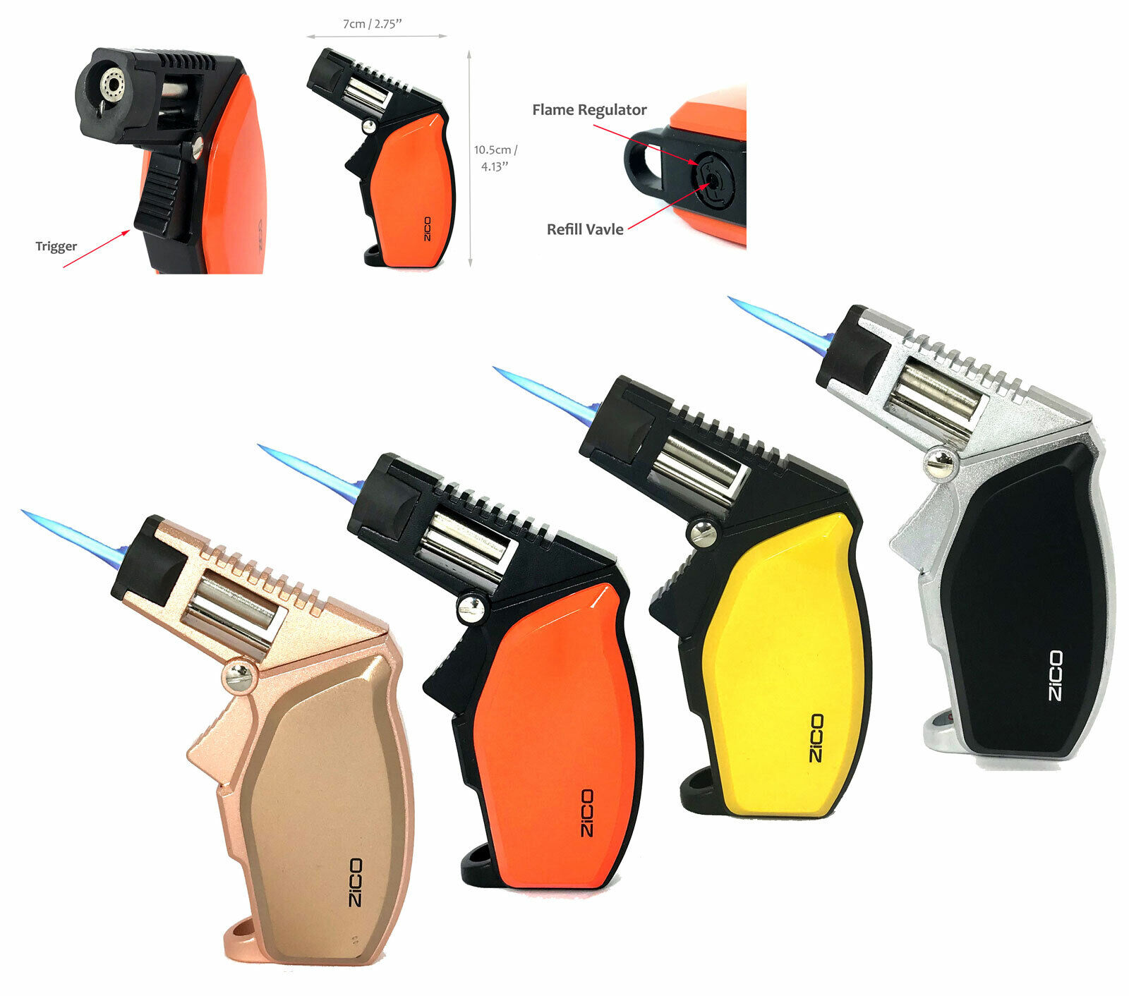 "Zico ZD58 4-1/4"" Torch Lighter Heavy Metal Flame Adjustable"