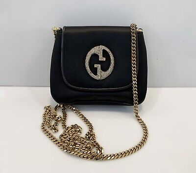 Rare Gucci 1973 Satin Leather Chain Shoulder Bag Clutch GG Logo Black