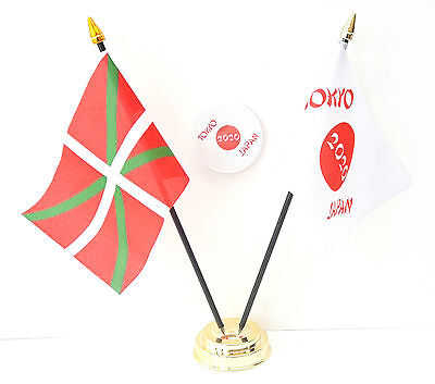 Basque & Tokyo Japan Olympics 2020 Friendship Desk Flags & 59mm BadgeSet