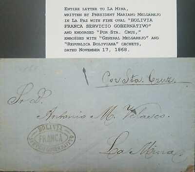 O) 1868 BOLIVIA, ENTIRE LETTER WRITTEN PRESIDENT MARIANO MELGAREJO. FINE OVAL BO