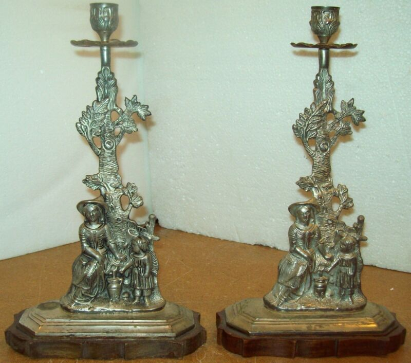 PAIR Large Vintage Victorian Cast Metal Wood & Silverplate Candlesticks