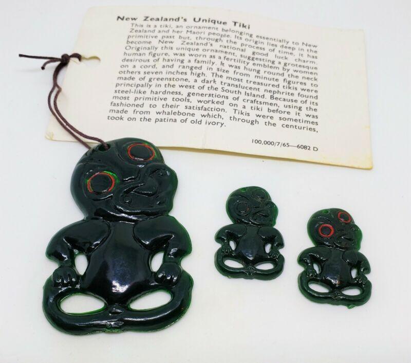 Vintage New Zealand Tiki Charms Green Plastic Pendant & Earrings
