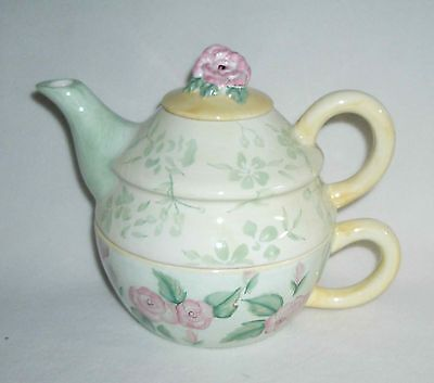 Irish Capriware Tea-for-One Teapot Roses and Greens