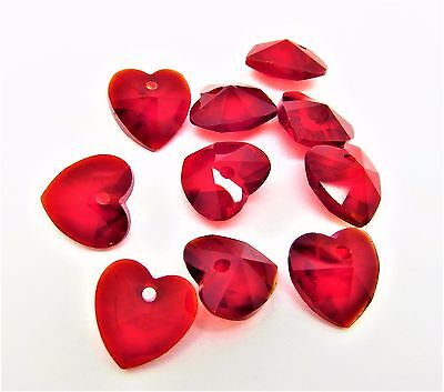 10 Red Love Heart Faceted Crystal Glass Drop Beads/Charms 10mm J05213