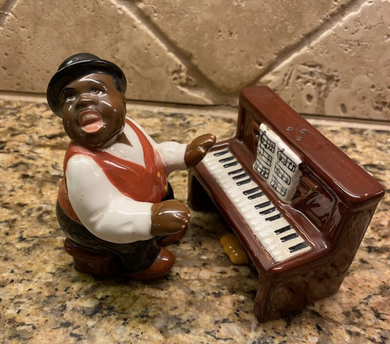 Clay Art Salt & Pepper Shakers Piano Player Male Figurine
