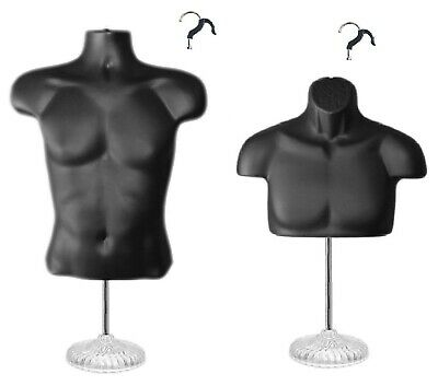 2 Black Male Torso Mannequins With 2 Stands