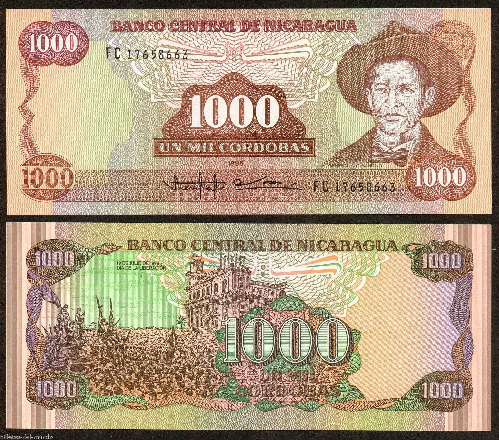 1985 Nicaragua 1000 1,000 Cordobas UNC P-156b Banknotes Original