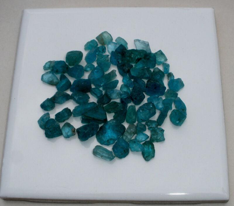 Natural Blue Apatite crystal rough gem mix parcel over 100 carats