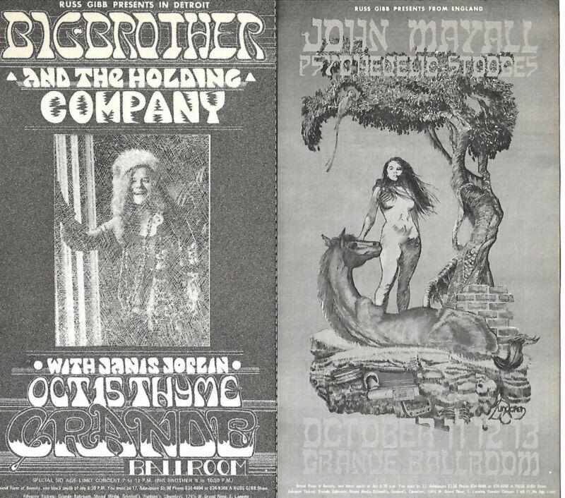 Original Janis Joplin & John Mayall Handbill Grande Ballroom Excellent Condition