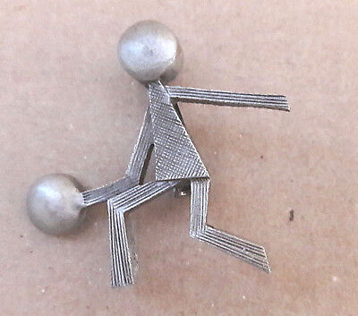 Basketball Player Boy Child Figure Pewter Pin Vintage Brooch Ball