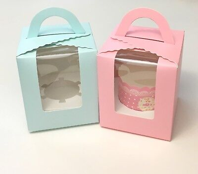 Cute Individual Pastel Pink/Blue Boxes for Cupcake/Muffin Party Gift, pack of - Individual Cupcake Boxes