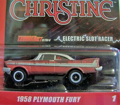 Silver Screen Christine red 1958 Plymouth Fury HO slot car Thunderjet R31 AW