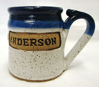 Hand Crafted Mug Art Pottery Gray Cup Anderson M T M I Homes Blue Speckled
