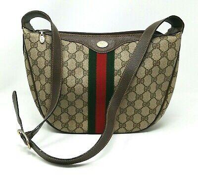 Gucci Ophidia Web Stripe Supreme GG Brown Canvas Leather Shoulder Hand Bag VTG