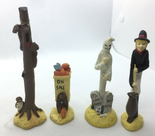 4 Lemax Type Halloween Ceramic Figures Witch Ghost Scary Tree Pumpkin Sign #20B