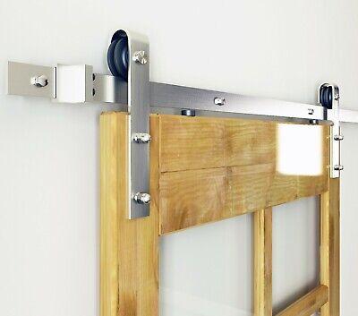 DIYHD Brushed Nickel Steel Sliding Barn Wood Door Track Hardware ()