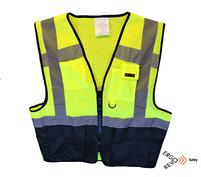 High Visibility Reflective Safety Vest Ppe Black Yellow. Size Large.
