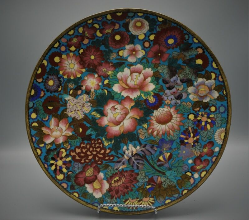 OLD CHINESE CLOISONNE ENAMEL CHARGER / PLATE