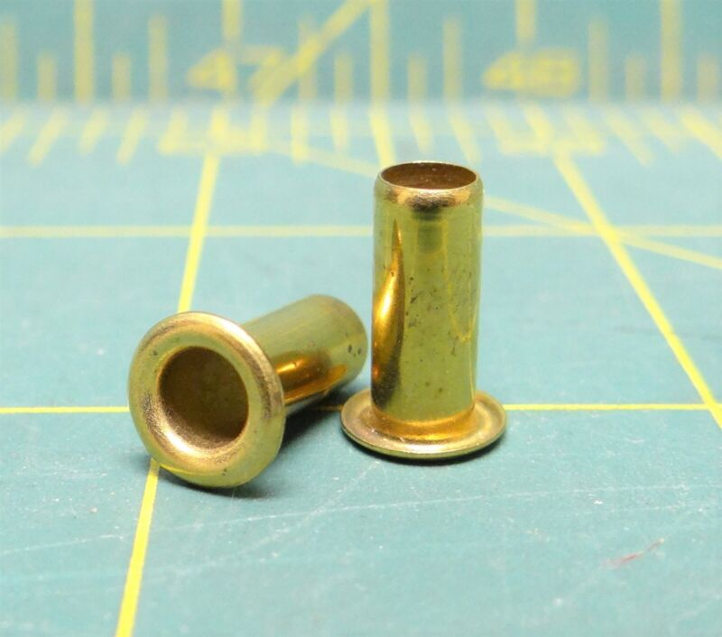 "(100pcs) Tubular Brass GS 6-14 Eyelet Grommet Rivet 3/16"" x 7/16"""